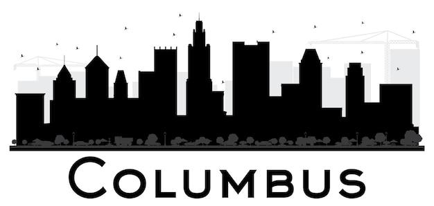 Город колумбус горизонт черно-белый силуэт. простая плоская концепция для туристической презентации, баннера, плаката или веб-сайта. городской пейзаж с достопримечательностями.