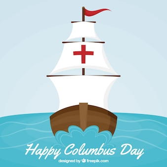 Columbus day background of caravel sailing