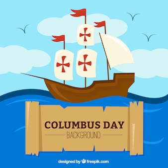 Columbus day background of caravel