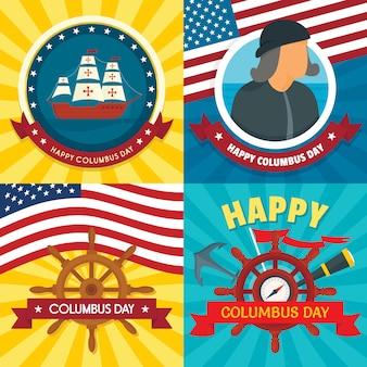 Columbus day banner set.