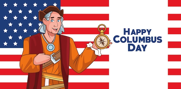 Columbus day celebration scene of christopher lifting compass guide and flag usa.