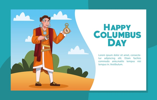 Columbus day celebration scene of christopher lifting compass guide.