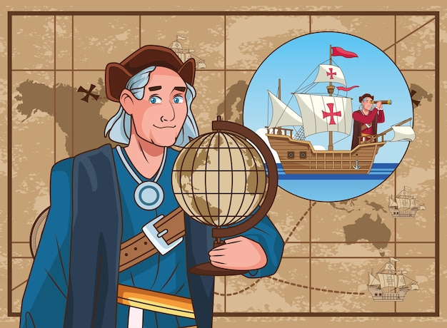 Columbus day celebration scene of christopher lifting world map.