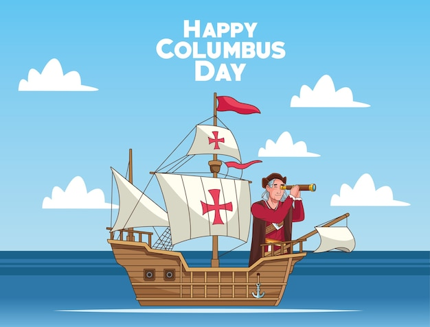 Columbus day celebration scene of christopher using telescope in caravel scene.