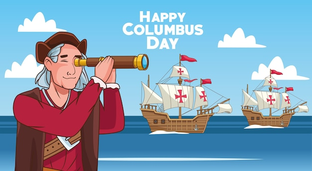 Columbus day celebration scene of christopher using telescope and caravels.