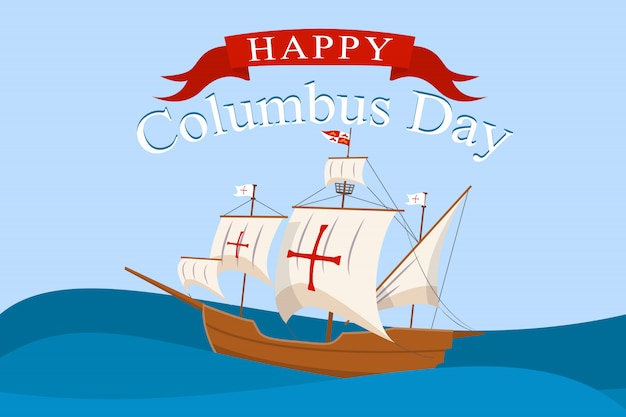 Columbus day concept , flat style