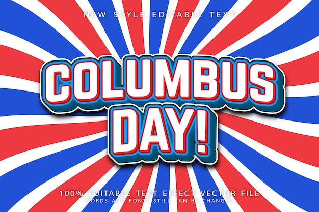 Columbus day editable text effect emboss modern style
