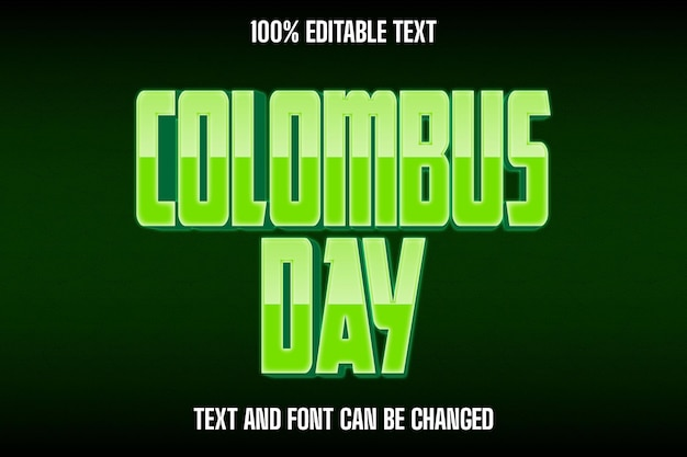 Columbus day editable text effect modern style