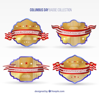 Columbus day golden badges pack