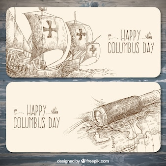 Columbus day hand-drawn banners