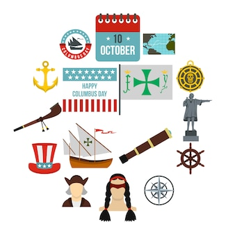 Columbus day icons set, flat style