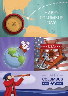 Columbus day illustration set, cartoon style