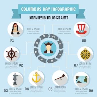 День колумба инфографики концепция, плоский стиль