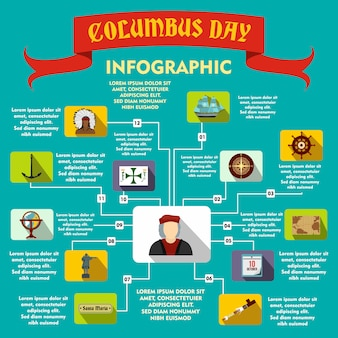 Columbus day infographic in flat style for any design