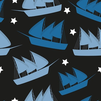 Columbus day pattern repeat seamless in blue color for any design. vector illustration
