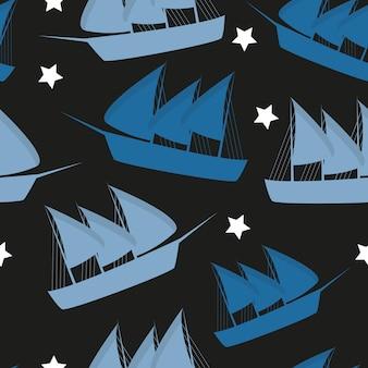 コロンブスデーのパターンは、どのデザインでも青色でシームレスに繰り返されます。ベクトルイラスト