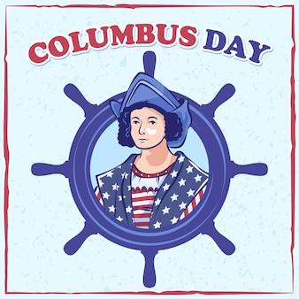 Columbus day with ship rudder symbol