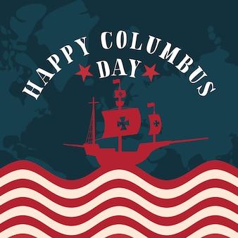 ハッピーコロンバスの日アメリカと発見のテーマのマップデザインとアメリカの国旗のコロンバス船