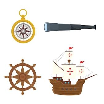 Корабельный телескоп колумба, компас и руль направления счастливого дня колумба, америка и тема открытий