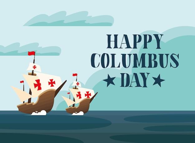 Корабли колумба в море дизайн счастливого дня колумба америка и тема открытий