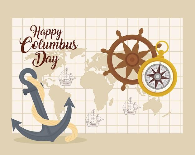 Корабли колумба на карте мира с якорным рулем и компасом в стиле счастливого дня колумба в америке и теме открытий