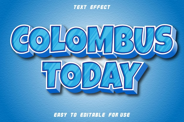 Columbus today editable text effect emboss modern style