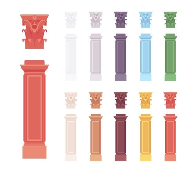 柱手すり子柱セット。建築の垂直ブロック、内部、外部のファサード要素、創造的なバー。白い背景、異なる鮮やかな色で隔離のベクトルフラットスタイルの漫画イラスト