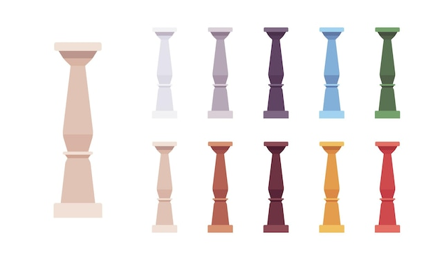 Column baluster set. spindle, short pillar for decorative design elements, stairway railing, exterior decor. vector flat style cartoon illustration isolated on white background, different vivid colors