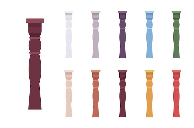 柱の手すり子セット。スピンドル、装飾的なデザイン要素のための短い柱、階段の手すり、外装の装飾。白い背景、異なる鮮やかな色で隔離のベクトルフラットスタイルの漫画イラスト