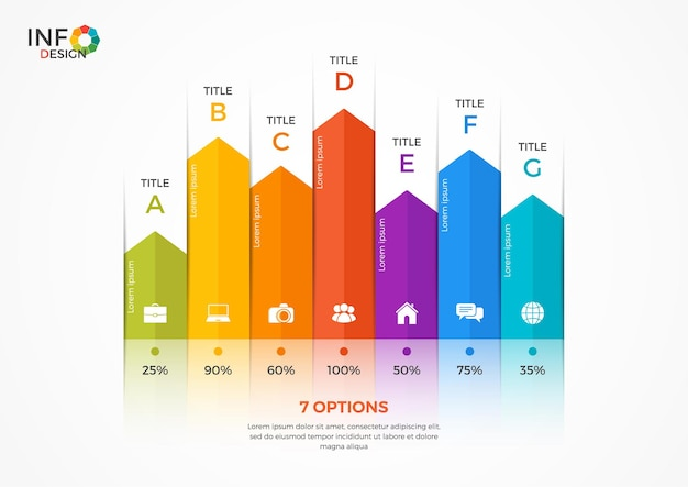 Column chart infographic template with 7 options. the elements of this template can be easily adjusted, transformed, added/completed, deleted and the colour can be changed.