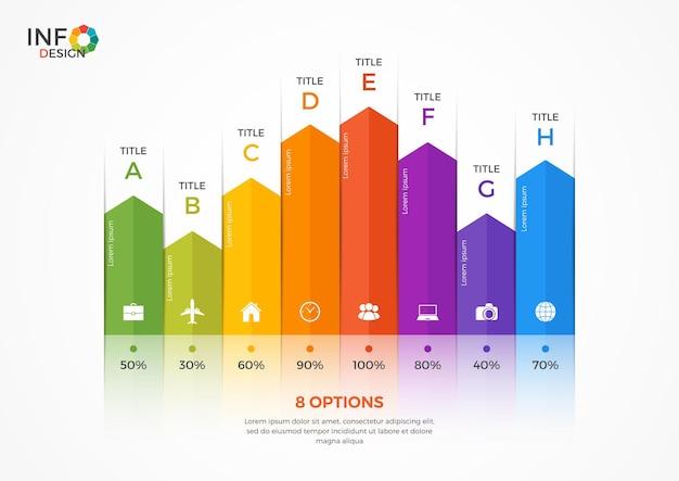 8개의 옵션이 있는 세로 막대형 차트 인포그래픽 템플릿입니다. 이 템플릿의 요소는 쉽게 조정, 변형, 추가/완료, 삭제할 수 있으며 색상을 변경할 수 있습니다.