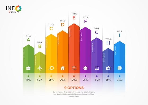 9つのオプションを備えた縦棒グラフのインフォグラフィックテンプレート。このテンプレートの要素は、簡単に調整、変換、追加/完了、削除でき、色を変更できます。