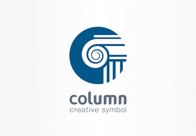Column creative symbol concept. capital antique pillar abstract business architect order logo. ancent museum, bank, library, theater, justice icon