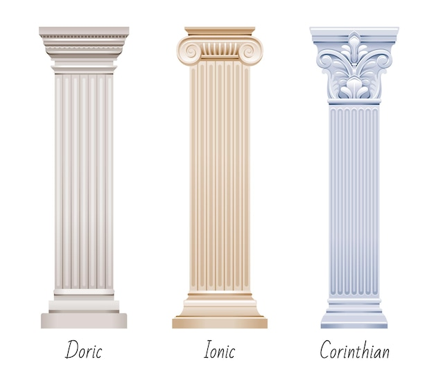 Column pillar   set. greek or roman old architecture.