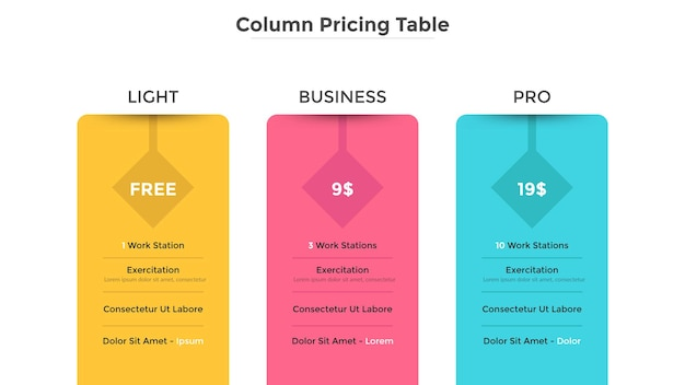 Column pricing tables or subscription plans with features description or list of included options and price. modern infographic design template. flat vector illustration for website, application.