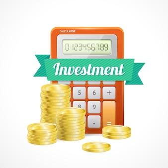 Столбцы золотых монет с калькулятором, изолированные на белом.