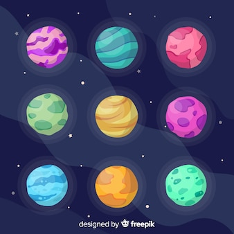 Columns and rows of cute planets