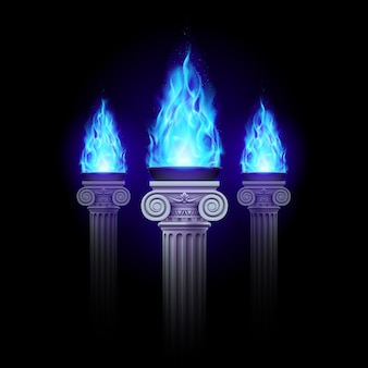 Columns with blue fire