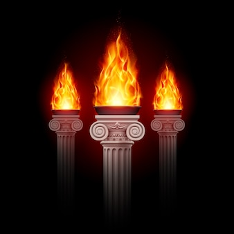 Columns with fire