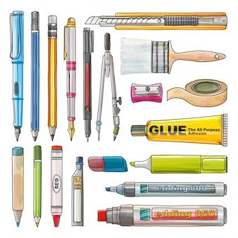 事務用品の分離、文房具の描画セット、水coluorスタイル、イラスト