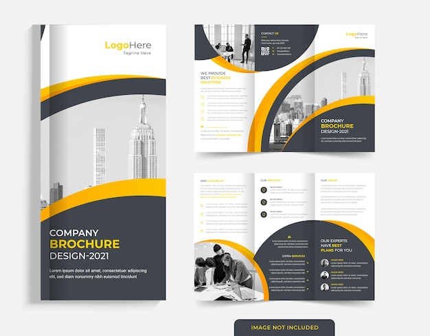 Comapny trifold brochure design with round shapes premium vector