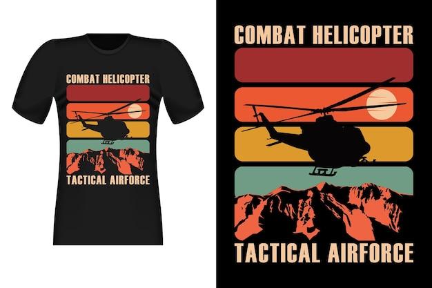 戦闘ヘリコプターのシルエットヴィンテージレトロtシャツのデザイン