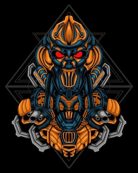 Combat robot illustration sacred geometry