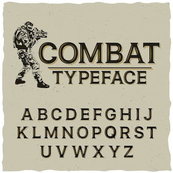 Combat typeface poster with hand drawn soldier on grey