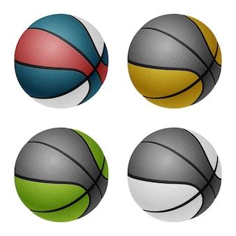 Комбинированные цветные баскетбольные мячи. изолированные на белом фоне