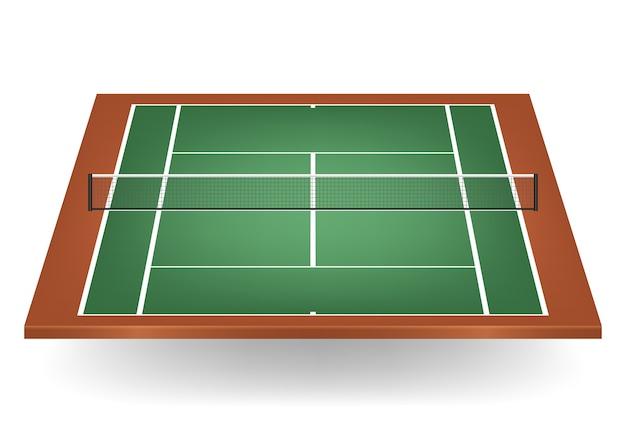 組み合わせ-緑と茶色-ネット付きテニスコート。