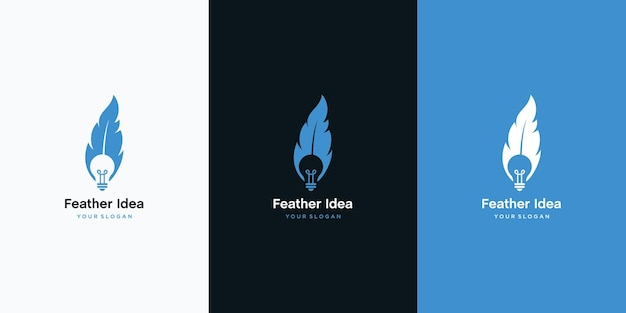 Combination of bulb and feather logo design