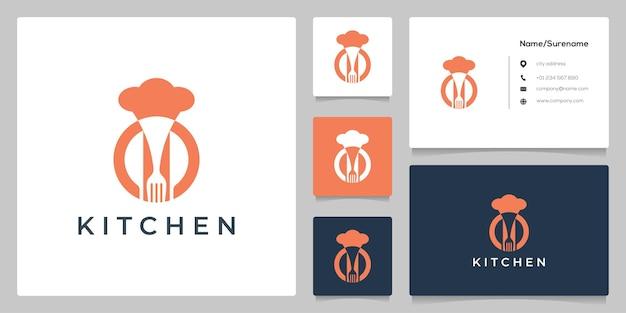 주방 레스토랑 로고 디자인을 위한 조합 요리사 모자 포크와 나이프