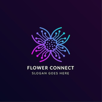 Combination of flower with electricity symbol made a logo design template use pink and blue gradient isolated in dark purple background