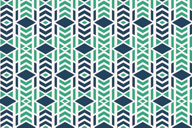 Combination green and blue vector geometric ornament stylish seamless pattern with squares arrow